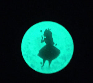 Glow in the Dark Alice Inspired Stopwatch Pendant Necklace