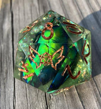 Load image into Gallery viewer, 'Caduceus' Hoard' Real Beetle 30mm Sharp Edged Handmade Gaming D20 Dice