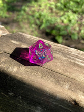 Load image into Gallery viewer, 'Toxicity' Glow in the Dark Sharp Edged Handmade Gaming D20 Dice