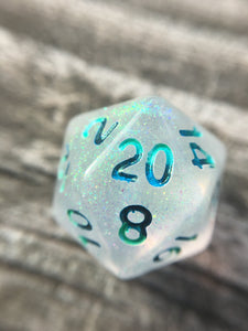 Siren Song Shimmery Glow in the Dark Handmade D20