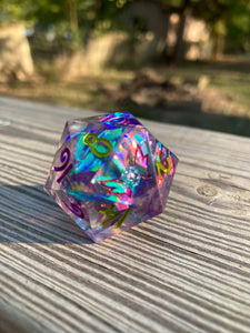 'Into the Fade' Handmade Sharp Edged 30mm D20 Gaming Dice