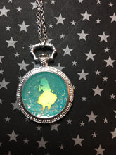 Load image into Gallery viewer, Glow in the Dark Alice Inspired Stopwatch Pendant Necklace