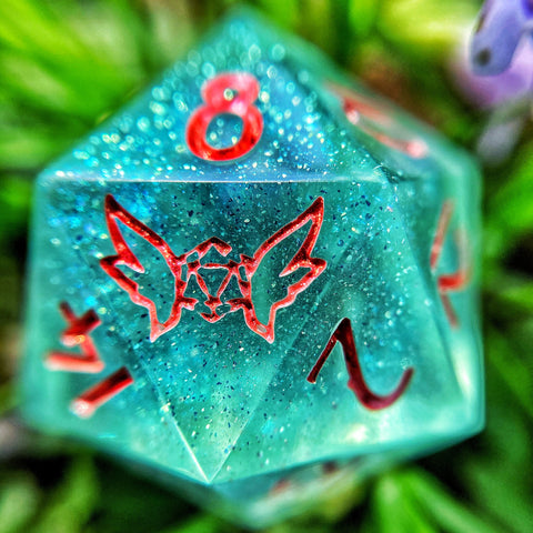 'Spring Lilies' Handmade Sharp Edge Gaming D20