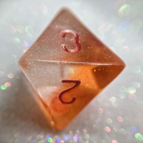 Shimmery Translucent Orange/Clear Handmade Gaming D8 Dice