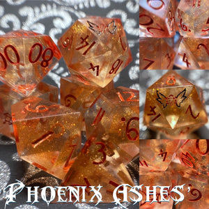 'Phoenix Ashes' Handmade Precision Polyhedral Gaming Dice Set