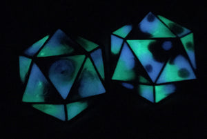 Glow in the Dark D20 Pendant Necklace or Keychain