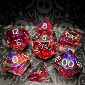 Raspberry Rainbows Handmade Sharp Edged Gaming Dice Set