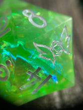 Load image into Gallery viewer, 'Nessie' 30mm Handmade Iridescent Precision Gaming D20