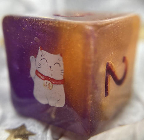 'Lucky Cat?' Handmade Kitty D6 Gaming Dice