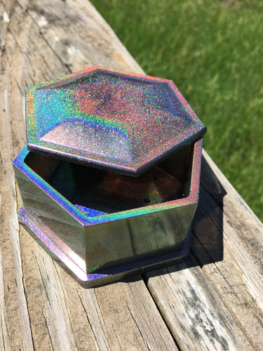 Holographic Hexogon Dice Box w/ Magnetic Closure