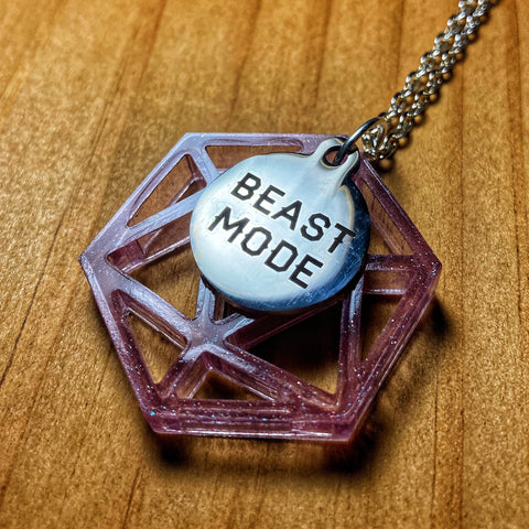 'Beast Mode' Shimmery Purple D20 Pendant Necklace