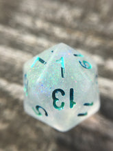 Load image into Gallery viewer, Siren Song Shimmery Glow in the Dark Handmade D20