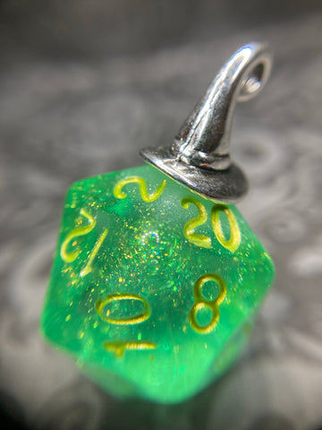 """Yer a Wizard"" Handmade D20 Dice Pendant Necklace"