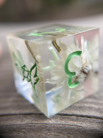 Floral Translucent Handmade Sharp Edge Gaming D6 Dice
