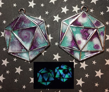 Load image into Gallery viewer, Glow in the Dark D20 Pendant Necklace or Keychain