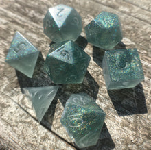 Load image into Gallery viewer, 'Forest Guardian' Custom Ink Handmade Sharp Edged Gaming Dice Set