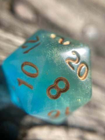 Fjord Inspired Green Glow in the Dark Handmade D20 Dice