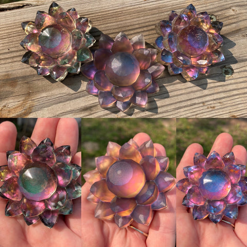 Iridescent Color Shifting Large Resin Crystal Hair Clip
