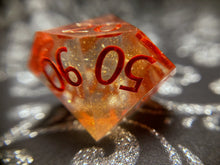 Load image into Gallery viewer, 'Phoenix Ashes' Handmade Precision Polyhedral Gaming Dice Set