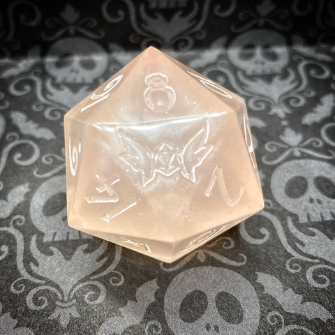 Custom Ink Handmade 30mm Sharp Edged Pearlescent Pastel Peach w/ Gold Shimmer D20