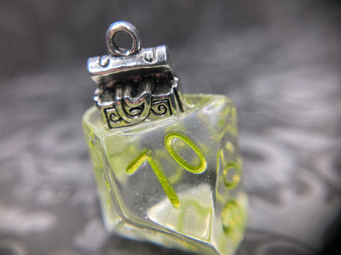 """NOT a Mimic"" Handmade D10 Dice Pendant Necklace"