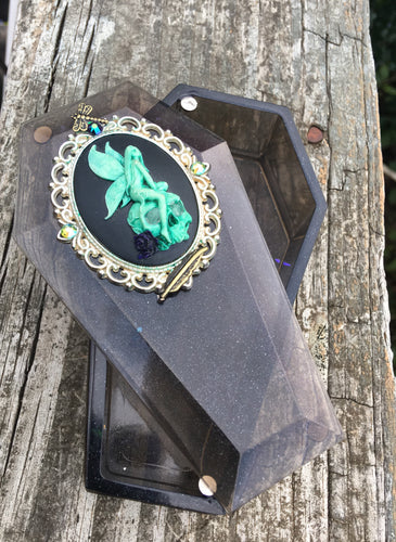 Shimmery Fairy Cameo Coffin Dice Box with Glow in the Dark Skull Eyes