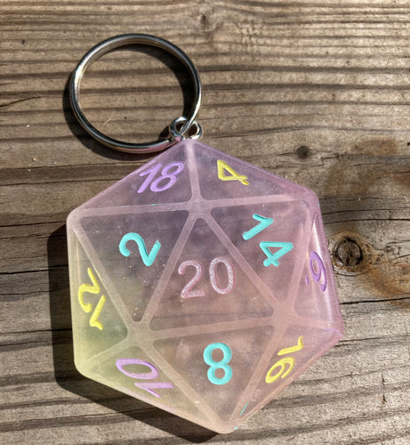 Mixed Pastel Shimmery D20 Keychain