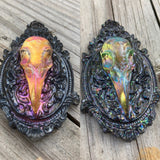 Large Color Shifting Raven Skull Cameo Necklace