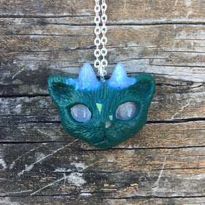 Deep Forest Green Faun Kitty Necklace