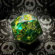 Load image into Gallery viewer, 'Swamp Thing' 30mm Precision Handmade Gaming D20 Dice