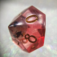 Load image into Gallery viewer, Shimmery Translucent Handmade Precision Red Galaxy Gaming D10 Dice