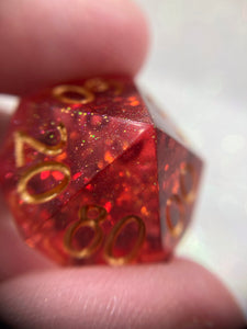 Translucent Red Handmade Precision Gaming D% Dice