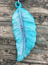 Load image into Gallery viewer, Colorshifting Light Blue Shimmer Feather Necklace