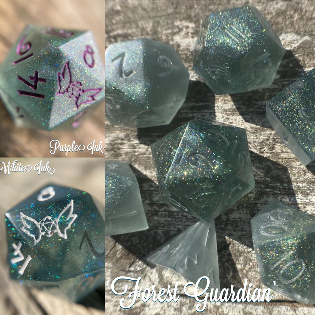 'Forest Guardian' Custom Ink Handmade Sharp Edged Gaming Dice Set