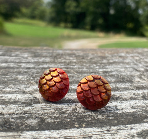 Red Dragon Scale Post Earrings