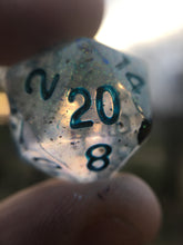 Load image into Gallery viewer, 'Eldritch Blast' Shimmery Handmade Polyhedral Gaming D20