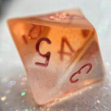 Load image into Gallery viewer, Shimmery Translucent Orange/Clear Handmade Gaming D8 Dice
