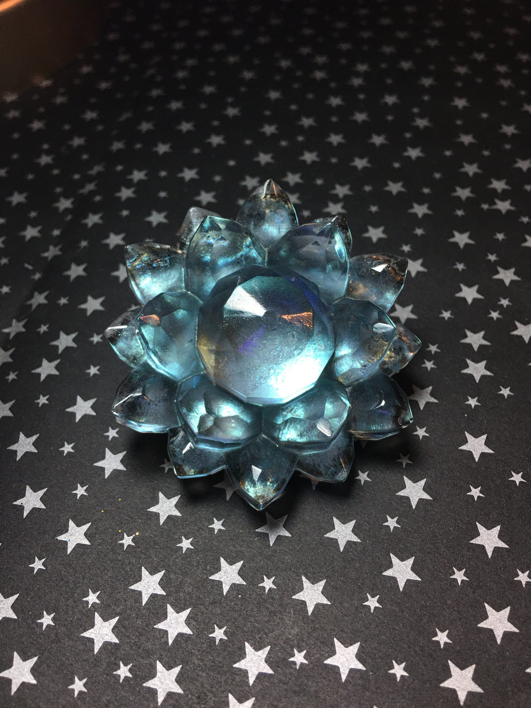 Iridescent Green/Blue Resin Large Crystal Hair Clip