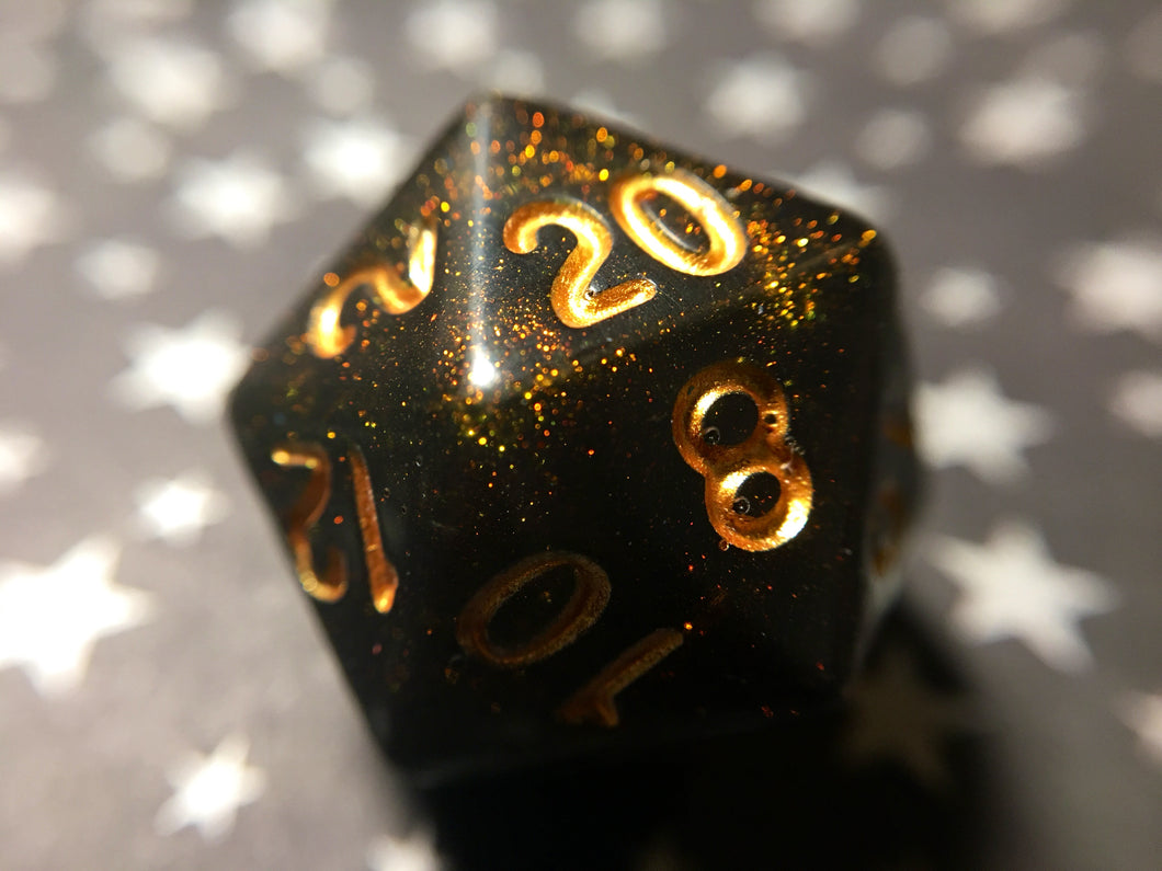 'Rage Quit' Handmade Polyhedral Gaming Dice D20