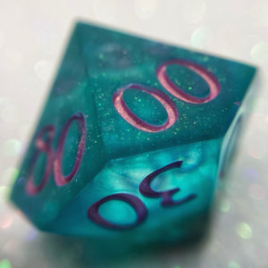 Semi-Translucent Precision Handmade Shimmery Teal/Pink Gaming Percentile Dice
