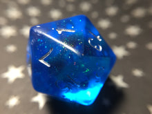 Load image into Gallery viewer, Ægir Translucent Blue Bifröst D20 Handmade Gaming Dice