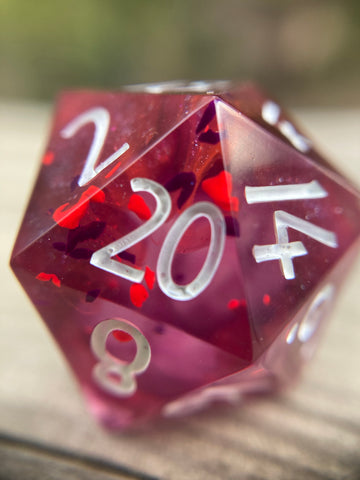 'Pink Platelets' Handmade Sharp Edged D20 Gaming Dice