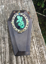 Load image into Gallery viewer, Shimmery Fairy Cameo Coffin Dice Box with Glow in the Dark Skull Eyes