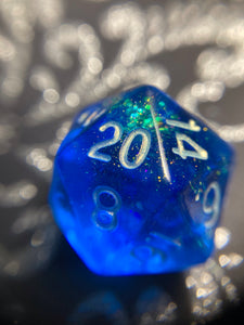 Shimmery Deep Blue Handmade Gaming D20 Dice