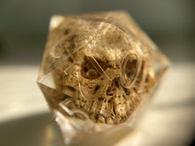 Load image into Gallery viewer, Sharp Edged Custom Ink Skull D20 Single Gaming Dice
