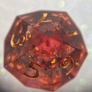 Shimmery Translucent Handmade Precision Red Galaxy Gaming D10 Dice