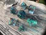'Steampunk-ish' Handmade Precision Polyhedral Gaming Dice Set