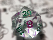 Load image into Gallery viewer, Villainous Goblin Handmade Precision Shimmer D20