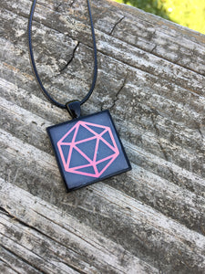 Pink Glowing Holographic D20 Square Pendant Necklace