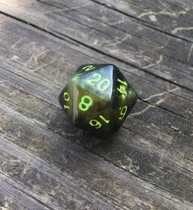 Nott the Brave Inspired Green to Gold Colorshifting Handmade D20 Dice
